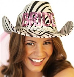 zebra western hat and veil